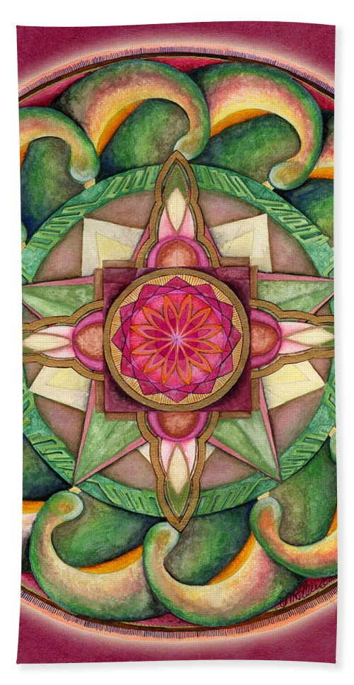 Mandala Art Bath Sheet featuring the painting Jewel Of The Heart Mandala by Jo Thomas Blaine