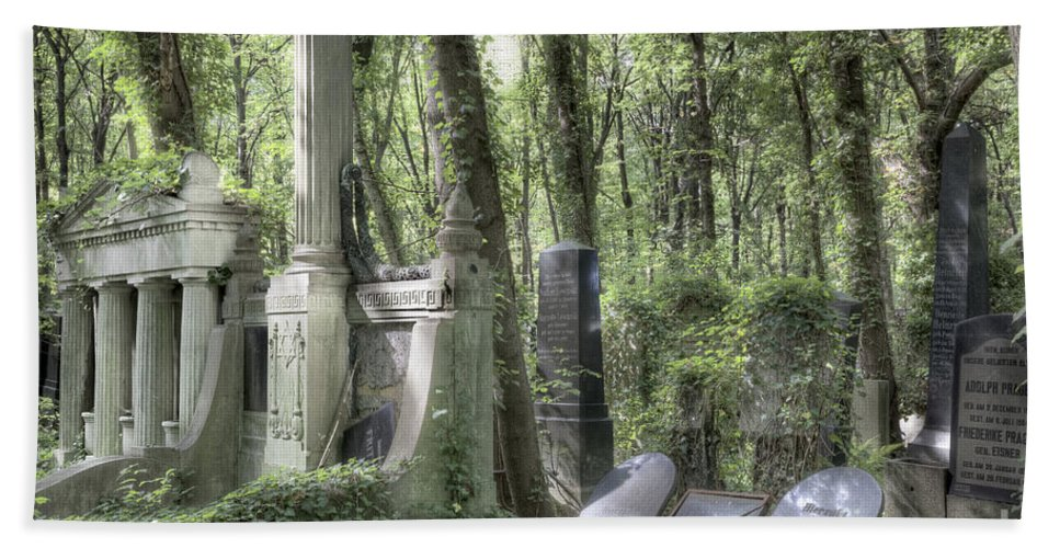 Jewish Bath Sheet featuring the photograph Jewish Cemetery Weissensee Berlin by Julie Woodhouse