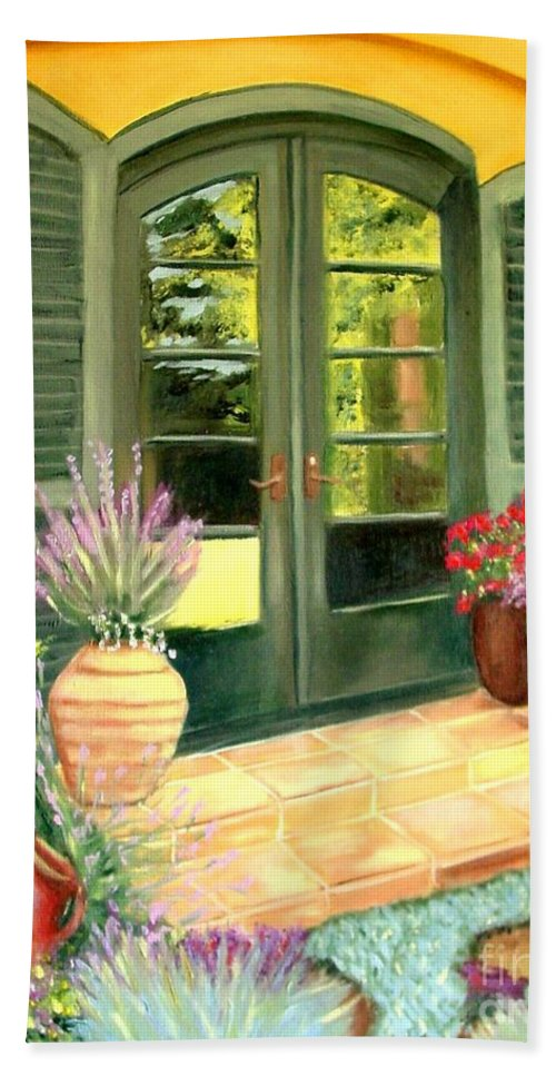 Shutters Bath Sheet featuring the painting Jill's Patio by Laurie Morgan