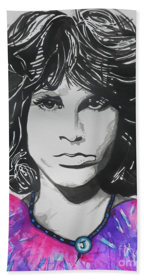 Watercolors Hand Towel featuring the painting Jim Morrison by Chrisann Ellis