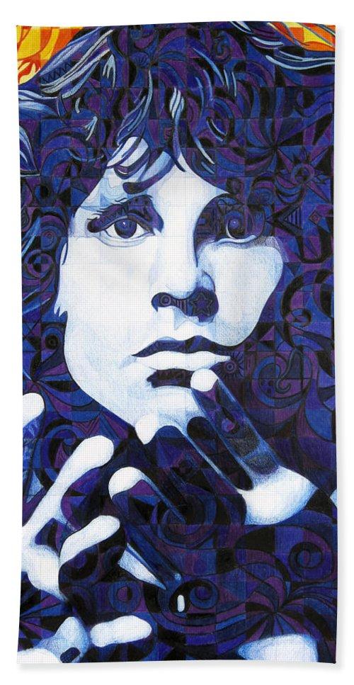 Jim Morrison Hand Towel featuring the drawing Jim Morrison Chuck Close Style by Joshua Morton