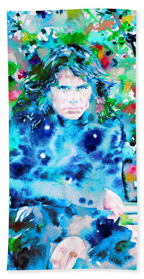 Doors Bath Sheet featuring the painting Jim Morrison Watercolor Portrait.3 by Fabrizio Cassetta