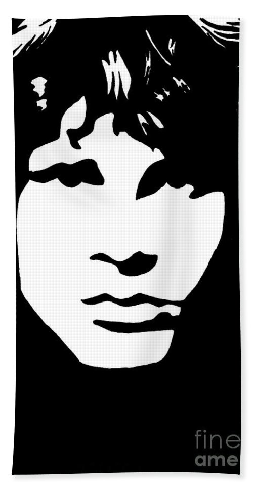 Black White Bath Towel featuring the drawing Jim Morrison by Yael Rosen