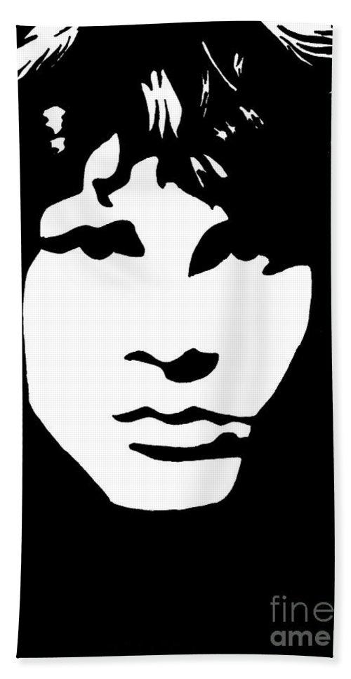 Black White Bath Sheet featuring the drawing Jim Morrison by Yael Rosen