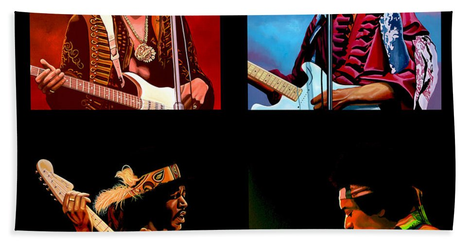 Jimi Hendrix Bath Towel featuring the painting Jimi Hendrix Collection by Paul Meijering