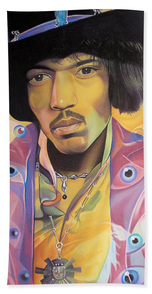 Jimi Hendrix Bath Sheet featuring the drawing Jimi Hendrix-eyes by Joshua Morton