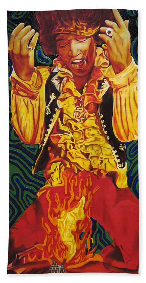 Jimi Hendrix Hand Towel featuring the painting Jimi Hendrix Fire by Joshua Morton