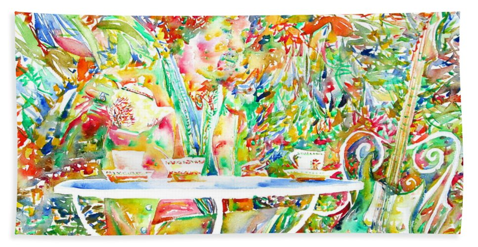 Jimi Bath Sheet featuring the painting Jimi Hendrix Having Breakfast Portrait by Fabrizio Cassetta