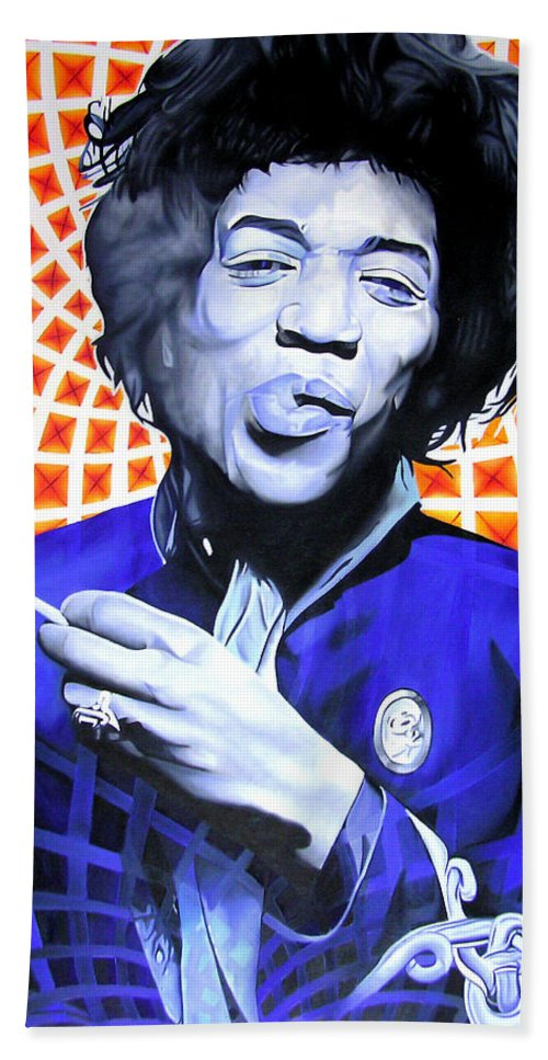 Jimi Hendrix Hand Towel featuring the painting Jimi Hendrix-orange And Blue by Joshua Morton