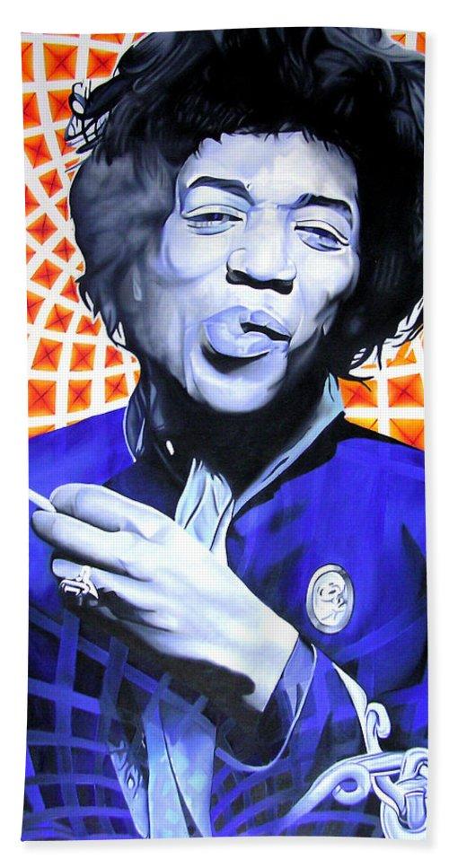 Jimi Hendrix Hand Towel featuring the painting Jimi Hendrix Orange And Blue by Joshua Morton