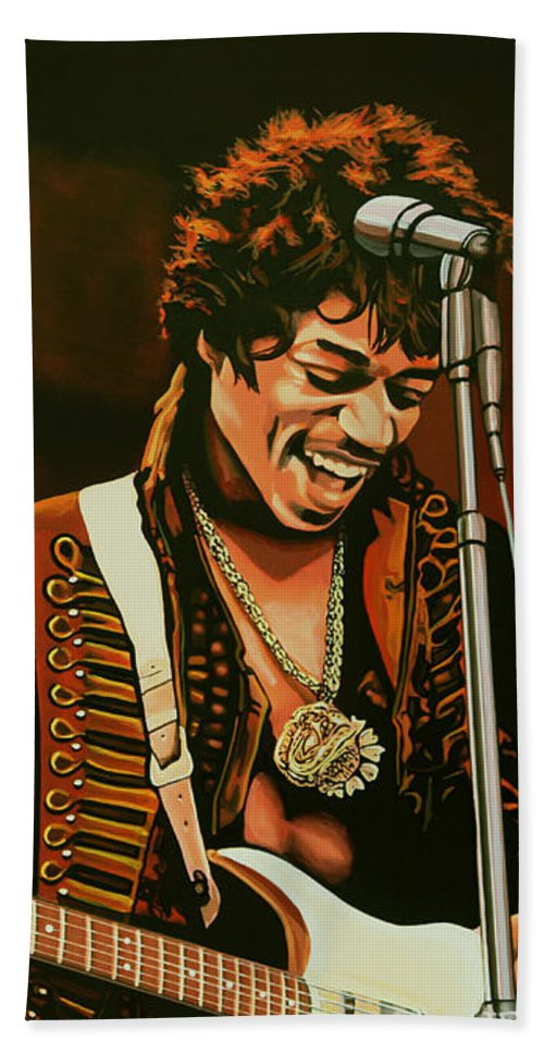 Jimi Hendrix Hand Towel featuring the painting Jimi Hendrix Painting by Paul Meijering