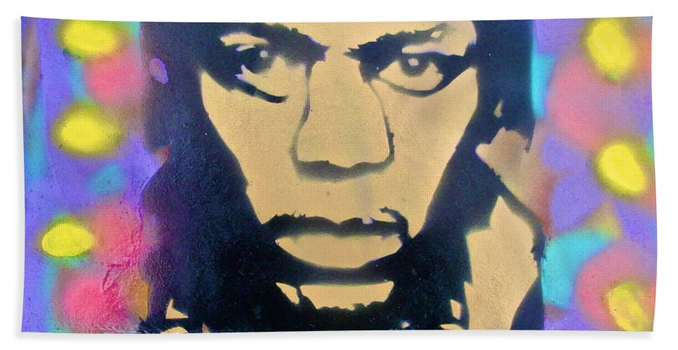 Jimi Hendrix Hand Towel featuring the painting Jimi Hendrix Squared by Tony B Conscious