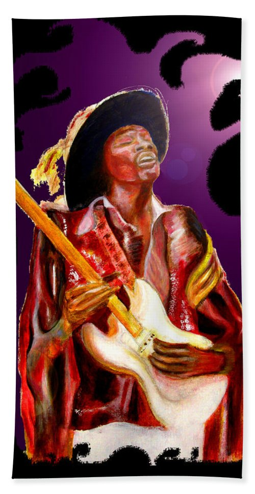 Rock Bath Sheet featuring the painting Jimi Hendrix Variations In Purple And Black by Tom Conway
