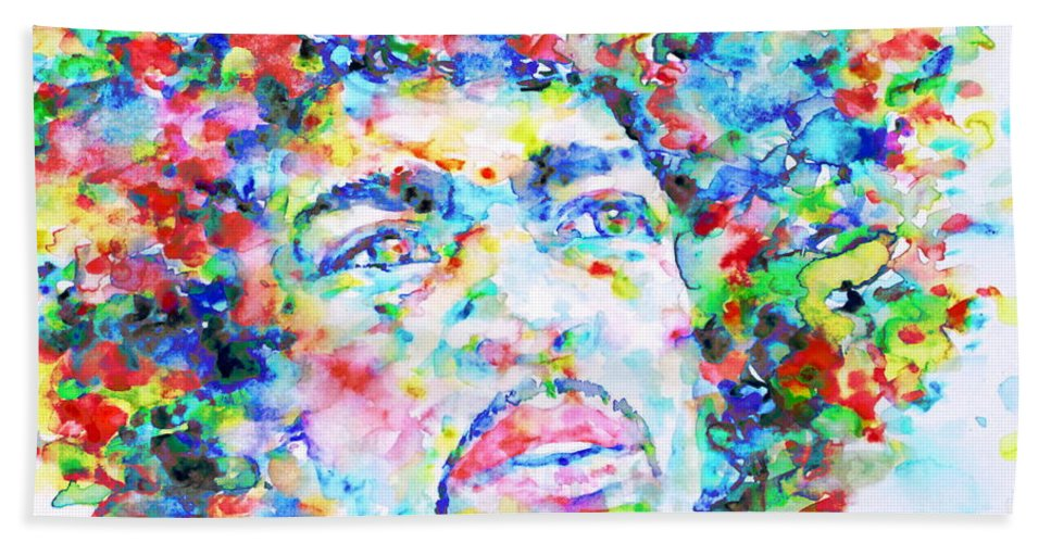 Jimi Hendrix Hand Towel featuring the painting Jimi Hendrix - Watercolor Portrait.3 by Fabrizio Cassetta