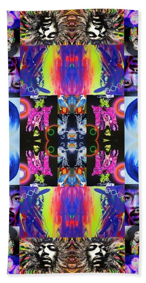Jimi Hendrix Hand Towel featuring the painting Jimi Kaleidoscope I by Christian Chapman Art