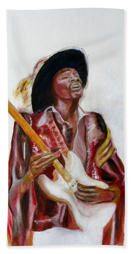 Jimi Hendrix Bath Sheet featuring the painting Jimi by Tom Conway