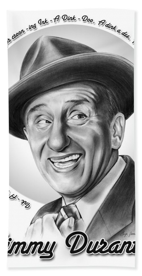 Jimmy Durante Hand Towel featuring the mixed media Jimmy Durante by Greg Joens