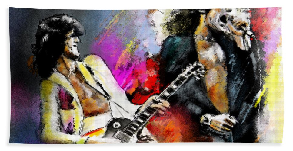 Musicians Bath Towel featuring the painting Jimmy Page And Robert Plant Led Zeppelin by Miki De Goodaboom