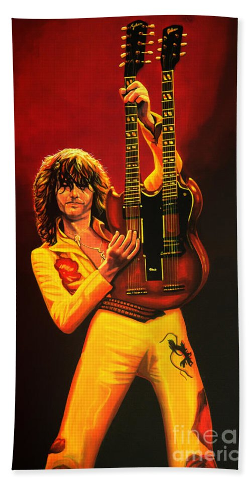 Jimmy Page Hand Towel featuring the painting Jimmy Page Painting by Paul Meijering