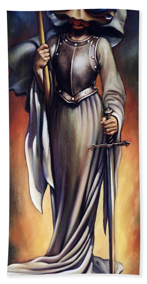 Joan Of Arc Hand Towel featuring the painting Joan Of Sharc by Patrick Anthony Pierson
