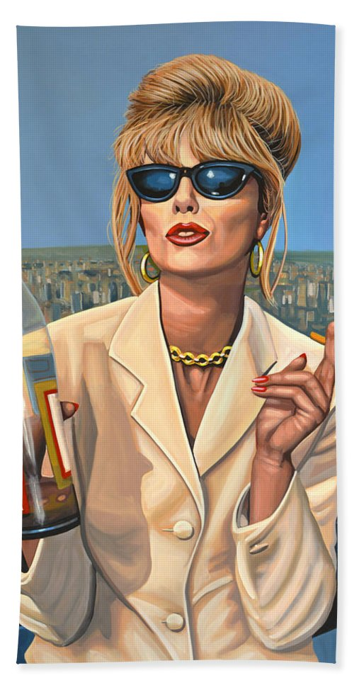 Joanna Lumley Bath Towel featuring the painting Joanna Lumley as Patsy Stone by Paul Meijering