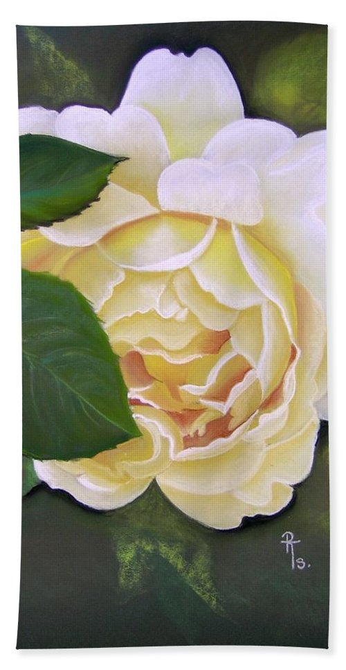 Cream Rose Bath Sheet featuring the pastel Joanne by Rosemarie Temple-Smith
