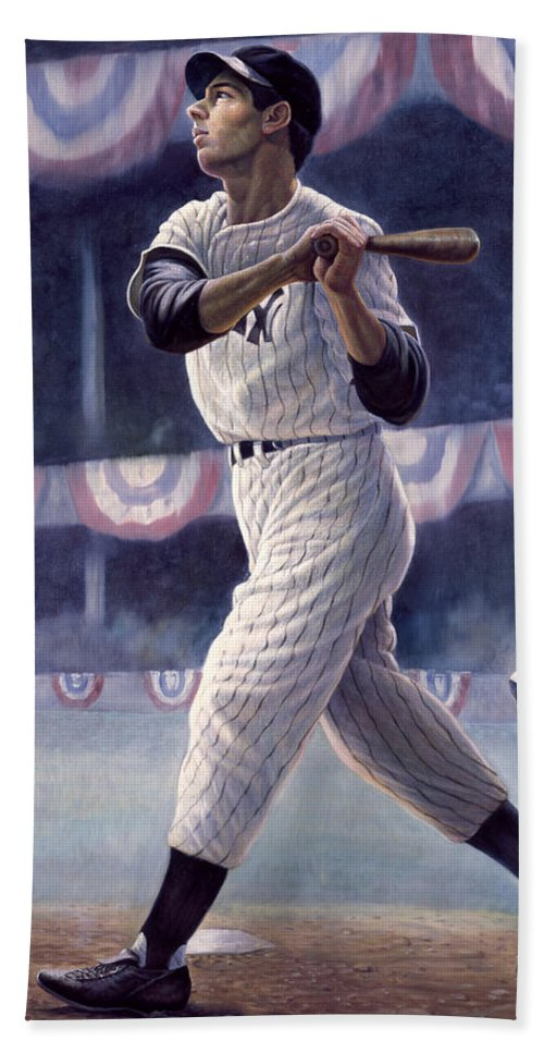 Joe Dimaggio Bath Towel featuring the painting Joe Dimaggio by Gregory Perillo