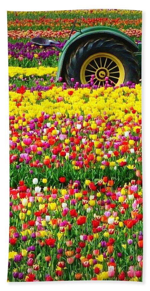 John Deere Tractor Hand Towel featuring the photograph John Deere Tulips by Susan Garren