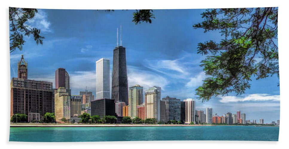 Chicago Hand Towel featuring the painting John Hancock Chicago Skyline Panorama by Christopher Arndt