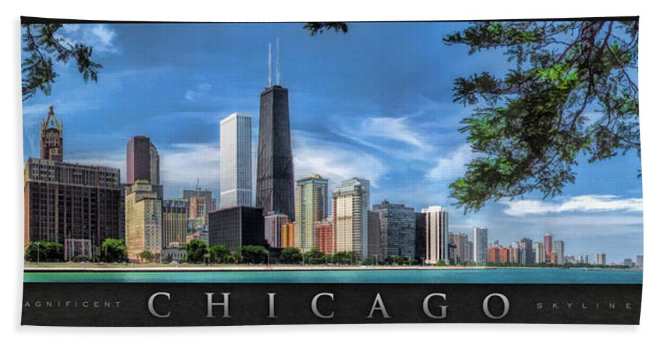 Chicago Hand Towel featuring the painting John Hancock Chicago Skyline Panorama Poster by Christopher Arndt
