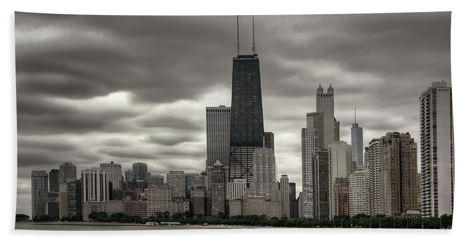 Chicago Bath Sheet featuring the photograph John Handcock Building From The Lake Shore by Ken Smith