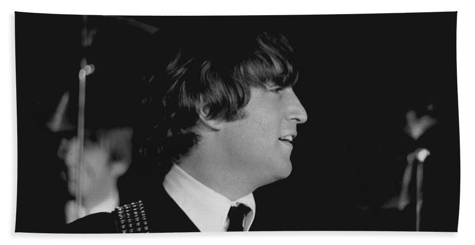 Beatles Bath Towel featuring the photograph John Lennon, Beatles Concert, 1964 by Larry Mulvehill