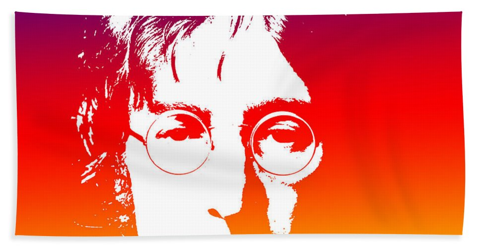 Beatles Hand Towel featuring the photograph John Lennon The Legend by Chris Smith