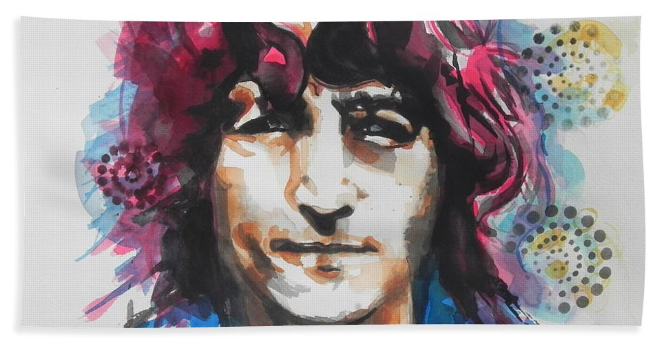 Watercolor Painting Hand Towel featuring the painting John Lennon..up Close by Chrisann Ellis