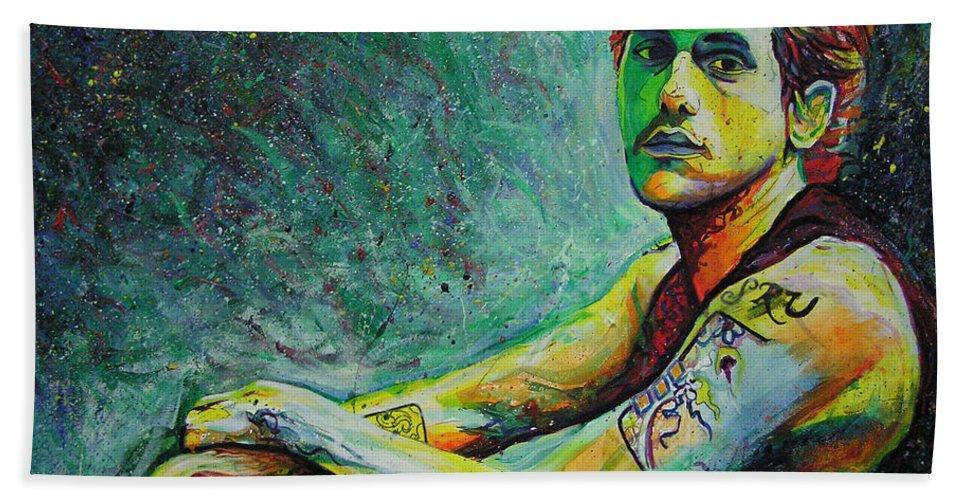 John Mayer Bath Towel featuring the painting John Mayer by Joshua Morton