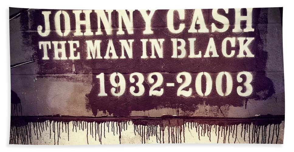 Johnny Cash Museum Hand Towel featuring the photograph Johnny Cash Memorial by Dan Sproul