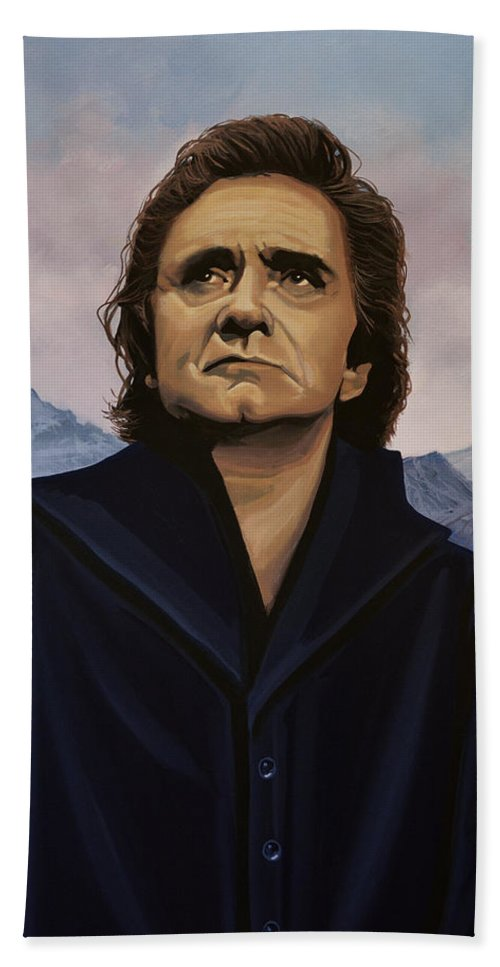 Johnny Cash Hand Towel featuring the painting Johnny Cash Painting by Paul Meijering