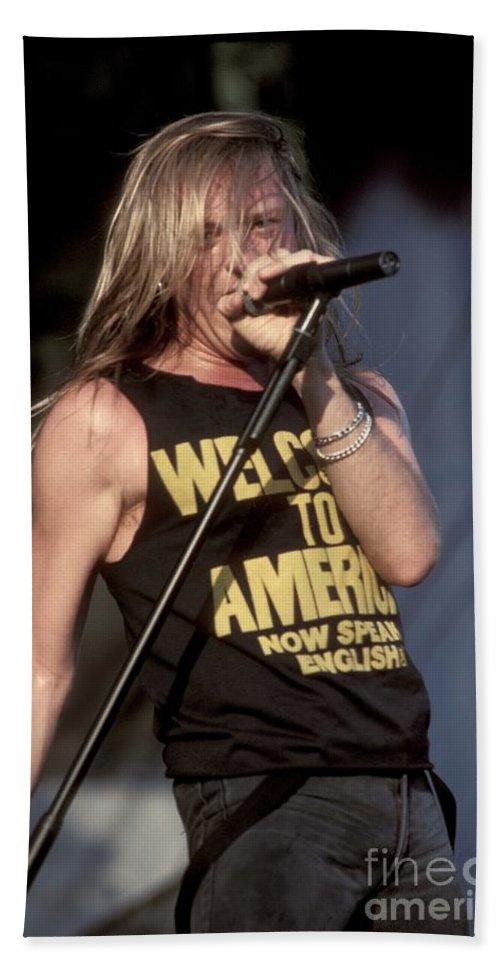 Vocalist. Singer Bath Sheet featuring the photograph Johnny Crash by Concert Photos