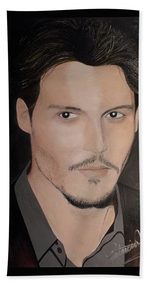Johnny Depp Hand Towel featuring the painting Johnny Depp - The Actor by Patricia Brewer-Cummings
