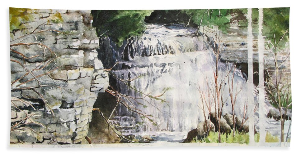 Rocks Hand Towel featuring the painting Jones Falls by Bev Morgan