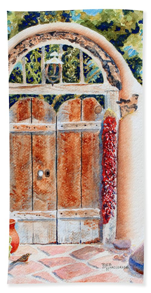 Gate Hand Towel featuring the painting Josefina's Old Gate by Deb Harclerode