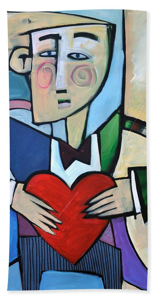 Heart Bath Towel featuring the painting Joseph Came A Courtin by Tim Nyberg