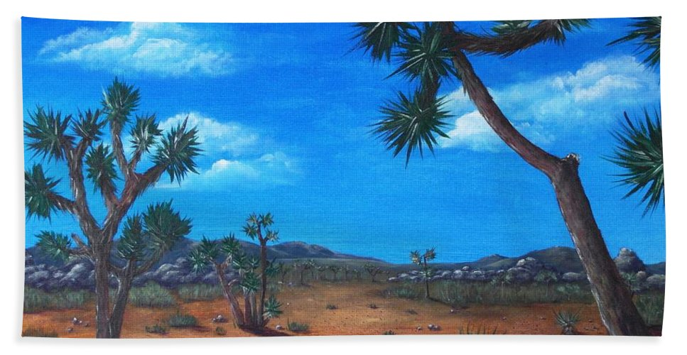 Malakhova Bath Towel featuring the painting Joshua Tree Desert by Anastasiya Malakhova