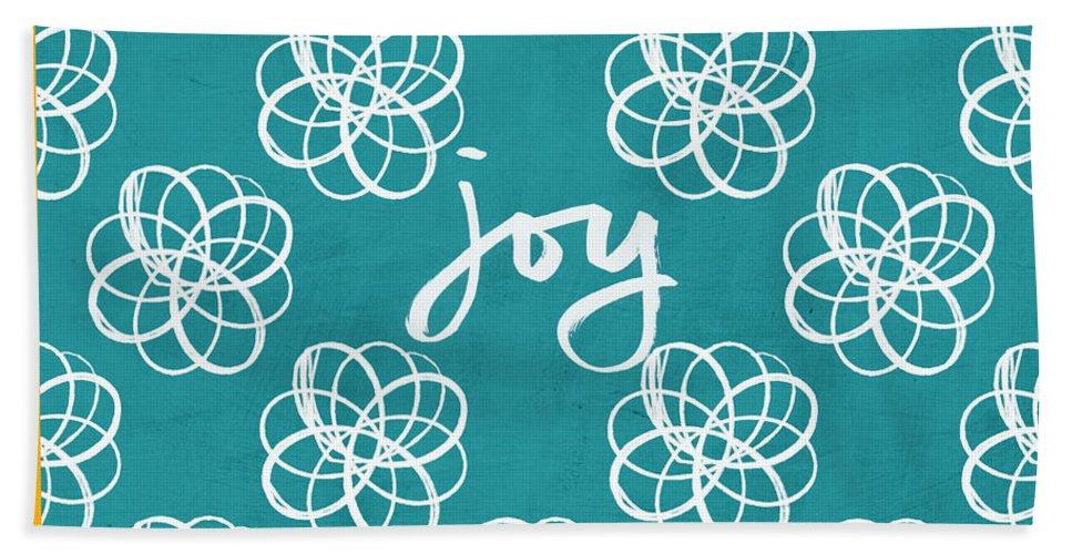 Boho Hand Towel featuring the mixed media Joy Boho Floral Print by Linda Woods