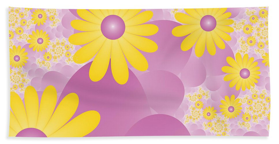 Fractal Hand Towel featuring the digital art Joy Of Spring by Gabiw Art