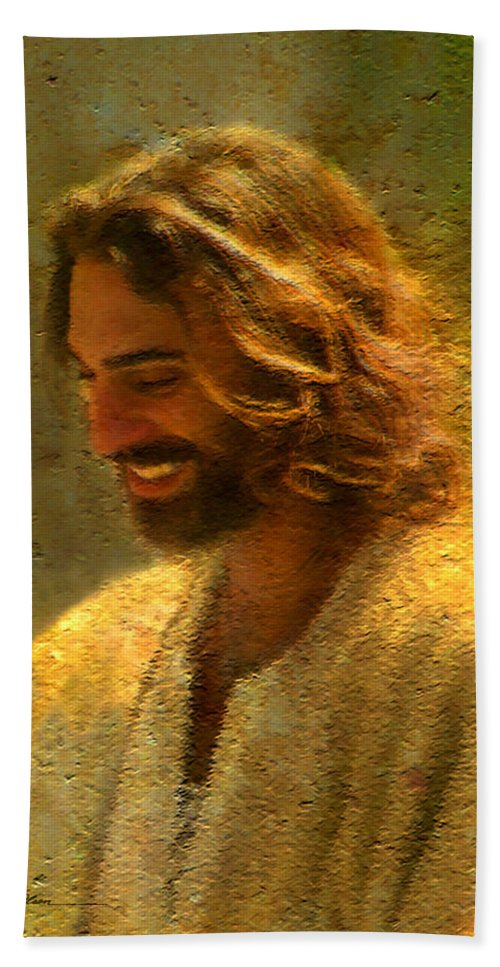 Jesus Bath Towel featuring the painting Joy of the Lord by Greg Olsen