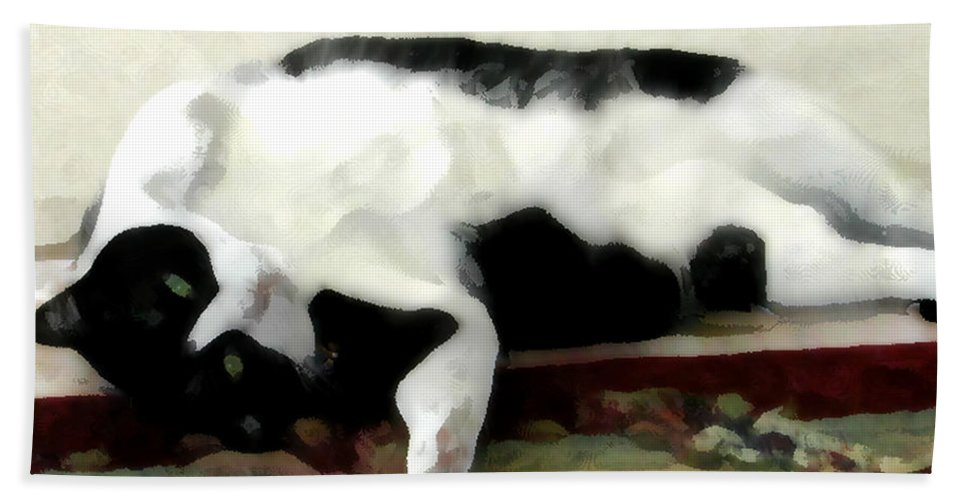 Black And White Bath Sheet featuring the photograph Joyful Kitty by Jeanne A Martin