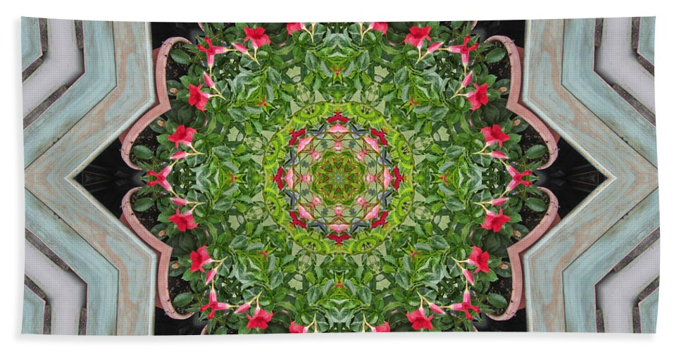 Mandevilla Sanderi Bath Sheet featuring the photograph Jubilant Mandevilla Kaleidoscope Pattern by Kathy Clark