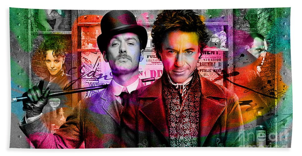 Jude Law Painting Bath Sheet featuring the mixed media Jude Law And Robert Downey Jr by Marvin Blaine