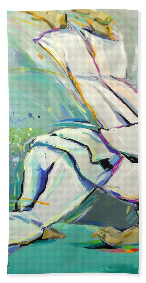 Judo Bath Sheet featuring the painting Judo by Lucia Hoogervorst